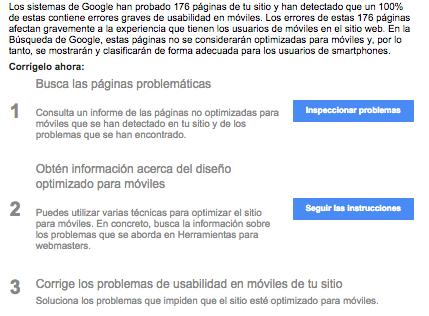 Mensaje de aviso de google webmaster sobre una web no optimizada para moviles