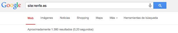 ejemplo de una búsqueda con site para conocer indexación