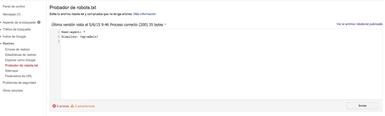ejemplo de robot txt en google search console